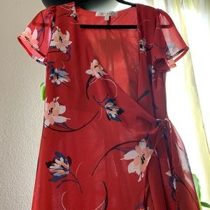 Row floral dress size small in red